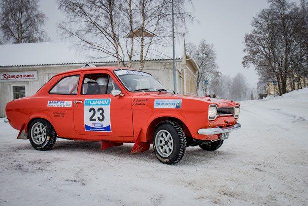 Jouni Leppälahti,ESRC ja Jussi Huhtinen, Mäntän UA, Ford Escort 1300 GT.
